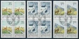 Zumstein 847-849 / Michel 907-909 Viererblockserie Mit ET-Zentrumstempel - Liechtenstein
