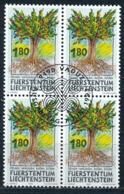 Zumstein 1006 / Michel 1064 Viererblockserie Mit ET-Zentrumstempel - Liechtenstein