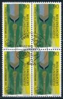 Zumstein 1068 / Michel 1126 Viererblockserie Mit ET-Zentrumstempel - Liechtenstein