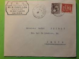 INDOCHINE, Lettre De SAIGON  CENTRAL, Cochinchine Tarif 7 C Pour Paris , TB - Indochine (1889-1945)