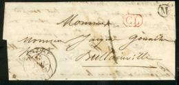 """1843 EURE ET LOIR Boîte Rurale """"M : Bullainville"""" + C-à-d (T14) """"BONNEVAL (27) 15/7/43 + """"CL"""" Rouge + Taxe Tampon """"1"""" - 1801-1848: Précurseurs XIX"""