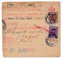 1923 YUGOSLAVIA, SLOVENIA, PTUJ TO ZAGREB, PARCEL CARD - 1919-1929 Royaume Des Serbes, Croates & Slovènes