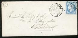 """1874 EURE ET LOIRE Boîte Rurale """"C : La Ferté Villeneuil"""" / N° 60B Obl. Gc """"1059"""" + C-à-d (T17) """"CLOYES-S-LE LOIR (27)"""" - Postmark Collection (Covers)"""