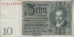 Tedesco Empire Rosenbg: 173a Udr.- Bst. Unree, Serie: Un-F, WZ. Thaer Usato (III) 1929 10 RM - 10 Mark