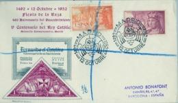 1952 , 12 DE OCTUBRE , FIESTA DE LA RAZA , V CENTENARIO DEL REY CATÓLICO , ED. 1112 / 1113 - 1951-60 Cartas