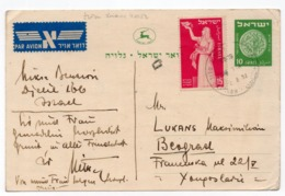 1952 IZRAEL TO BELGRADE, YUGOSLAVIA, STATIONERY CARD, USED - Israel