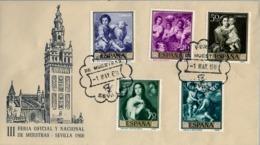 1960 , SEVILLA , III FERIA OFICIAL Y NACIONAL DE MUESTRAS , 2 SOBRES , ED. 1270 / 1279 - MURILLO - 1931-Hoy: 2ª República - ... Juan Carlos I