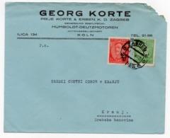 1932 YUGOSLAVIA, CROATIA, ZAGREB TO KRANJ, COMPANY HEADCOVER, GEORG CORTE, ZAGREB - 1931-1941 Royaume De Yougoslavie