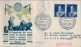 1951 , MADRID - II EXPOSICIÓN NACIONAL DE NUMISMÁTICA E INTERNACIONAL DE MEDALLAS , FR. ED. 1102 X 2 ,CIRCULADO A LISBOA - 1931-Hoy: 2ª República - ... Juan Carlos I