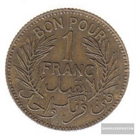 Tunisia Km-number. : 247 1921 Very Fine Alunimium-Bronze 1921 1 Franc Date In Wreath - Tunesië