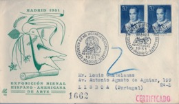 1951 , MADRID - EXPOSICIÓN BIENAL HISPANO AMERICANA DE ARTE , FR. ED. 1102 X 2 ,CIRCULADO A LISBOA - 1931-Hoy: 2ª República - ... Juan Carlos I