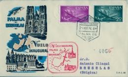 1956 , BALEARES , PALMA DE MALLORCA - BRUSELAS , VUELO INAUGURAL , CERTIFICADO , LLEGADA - 1931-Hoy: 2ª República - ... Juan Carlos I