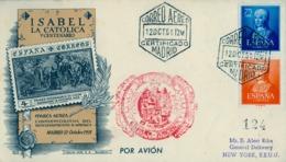 1951 , MADRID , DESCUBRIMIENTO DE AMÉRICA , ISABEL LA CATÓLICA , ED. 1093 , 1095 , TRÁNSITOS , LLEGADA - 1931-Hoy: 2ª República - ... Juan Carlos I