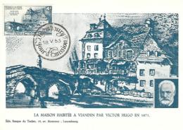 18.5.1953  -  La Maison Habitée A Vianden Par VICTOR HUGO En 1871 - Edit. Banque Du Timbre,Luxembourg - Maximum Cards