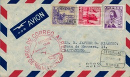 1949 , BALEARES , MAHÓN - SANTANDER , 30 AÑOS DE CORREO AÉREO , LLEGADA - 1931-50 Lettres