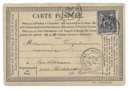 CARTE POSTALE PRECURSEUR 1878, DEPART DE MONTBELIARD, ARRIVEE A HERICOURT HAUTE SAONE - Poststempel (Einzelmarken)