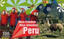 TAILANDIA. More Freedom More Adventure - PERU. 7411. 12/2009. FAUNA - MACHU PICHU. (017) - Tarjetas Telefónicas