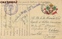 CACHET MILITAIRE CARTOLINA POSTALE OESPEDALETTO DA CAMPO CENSURE CAHORS HOPITAL ITALIE - Guerra 1914-18