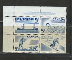 "CANADA,1957 ""RECREATION SPORTS"" #365-368 P.B.#2 U.L. MNH - Unused Stamps"