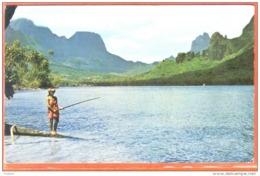 Carte Postale Tahiti  Pêcheuse Tahitienne Baie De Cook à Moorea   Trés Beau Plan - Tahiti