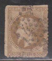 FRANCE Scott # 34 Used - Trimmed Perfs At Top & Left Sides - Spacefiller CV $ 17 - 1863-1870 Napoleon III With Laurels