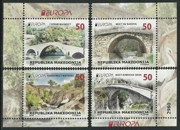 "MACEDONIA/ MAKEDONIA/ MAKEDONIEN -EUROPA 2018 - ""PUENTES.- BRIDGES - BRÜCKEN - PONTS"".   4 SELLOS HOJITA BLOQUE CARNET - 2018"