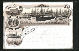 Vorläufer-Lithographie Hamburg, 1894, Blick Auf Hafen, Seemannshaus, Dampfer Auguste Victoria - Ohne Zuordnung