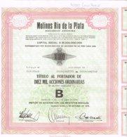 Titre Ancien - 4 Titulos Molinos Rio De La Plata - Socidad Anonima - Titulos De 1979 - Landbouw