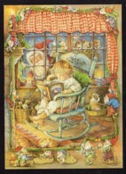Boy Reading A Book Sitting On Rocking Chair - Santa Claus Looking At Window - Dog - Lisi Martin - Pictura Graphica AB - Natale