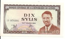 GUINEE 10 SYLIS 1971 AUNC P 16 - Guinée