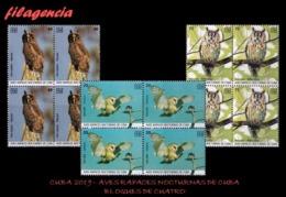 CUBA. BLOQUES DE CUATRO. 2019-22 AVES RAPACES NOCTURNAS CUBANAS - Cuba