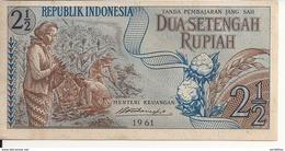 INDONESIE 2 1/2 RUPIAH 1961 AUNC P 79 - Indonesia