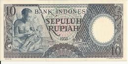 INDONESIE 10 RUPIAH 1958 UNC P 56 - Indonesia