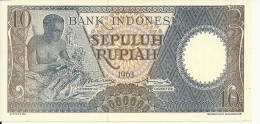 INDONESIE 10 RUPIAH 1963 UNC P 89 - Indonésie