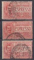 ITALIA - Lotto Di 3 Francobolli Usati Per Espresso: Yvert 6, 9 E 10. - 1900-44 Victor Emmanuel III.