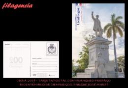 CUBA. ENTEROS POSTALES. TARJETA POSTAL FRANQUEO PREPAGO. 2019 CIENFUEGOS. PARQUE JOSÉ MARTÍ - Cuba