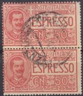 ITALIA - 1920 - Posta Espresso; Coppia Di Yvert 6 Usati Uniti Fra Loro. - 1900-44 Victor Emmanuel III.
