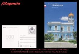 CUBA. ENTEROS POSTALES. TARJETA POSTAL FRANQUEO PREPAGO. 2019 CIENFUEGOS. HOTEL PALACIO AZUL - Cuba