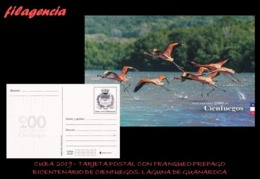 CUBA. ENTEROS POSTALES. TARJETA POSTAL FRANQUEO PREPAGO. 2019 CIENFUEGOS. LAGUNA DE GUANAROCA. FLAMENCOS - Cuba