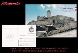 CUBA. ENTEROS POSTALES. TARJETA POSTAL FRANQUEO PREPAGO. 2019 CIENFUEGOS. CASTILLO NUESTRA SRA. DE LOS ÁNGELES DE JAGUA - Cuba