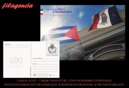 CUBA. ENTEROS POSTALES. TARJETA POSTAL FRANQUEO PREPAGO. 2019 CIENFUEGOS. BANDERA NACIONAL & BANDERA DE CIENFUEGOS - Cuba