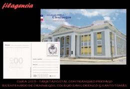 CUBA. ENTEROS POSTALES. TARJETA POSTAL FRANQUEO PREPAGO. 2019 CIENFUEGOS. COLEGIO SAN LORENZO & SANTO TOMÁS - Cuba