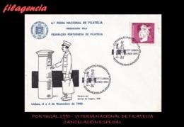 EUROPA. PORTUGAL. ENTEROS POSTALES. MATASELLO ESPECIAL 1990. VI FERIA NACIONAL DE FILATELIA. CARTERO - 1910-... República