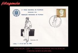 EUROPA. PORTUGAL. ENTEROS POSTALES. MATASELLO ESPECIAL 1990. V FERIA NACIONAL DE FILATELIA. CARTERO - 1910-... República