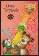 Animal Friends - Cat - Dog And Bunny Open Shampagne Bottle - Lisi Martin - Pictura Graphica AB - Double Card - Auguri - Feste