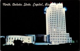 North Dakota Bismarck State Capitol At Night - Bismark