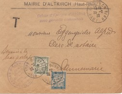 Frankreich: 1922: Altkirch  Taxe - Francia