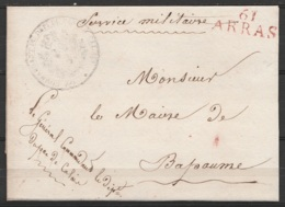 L. Datée 3 Juin 1817 De ARRAS Du Général Commandant Le Département Du Département Du Pas-de-Calais En S.M. (Service Mili - Marcofilia (sobres)