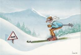 (ski) Carte Postale Illustrée Par Jean-Paul LACOURT - Wintersport