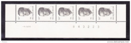BELGIQUE COB 2352 ** MNH BANDE DE 5 DATEE 1.X.91, GOMME BLANCHE. (4TJ40) - 1981-1990 Velghe